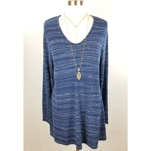 Pure Jill J Jill Indigo Blue V-Neck Long Tunic Top
